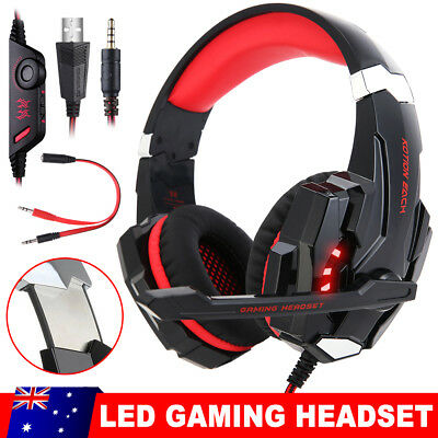 EACH 3.5mm Gaming Headset MIC LED Headphones G9000 for Laptop PS4 Xbox One Red