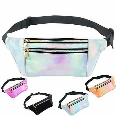 iAbler Holographic Fanny Pack for Women and Men Metallic 80s Waterproof Shiny