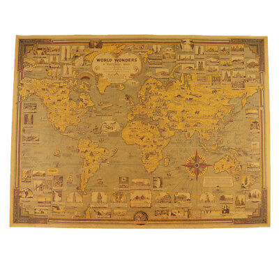 Retro Vintage Large Old World Map Linen Poster Print Art Wall Hanging