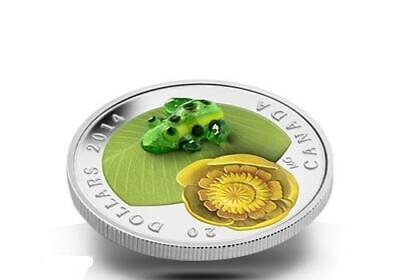 Canada 2014 $20 Water-lily and Venetian Glass Leopard Frog 1oz Silver Proof Coin