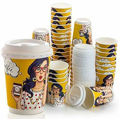 5724b88ab10 Disposable Coffee Cups 50 Set Double Wall with Leak Proof Lids, 12OZ