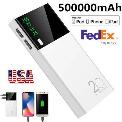 2 USB 500000mAh Power Bank LED External Backup Battery Charger for Mobile Phones