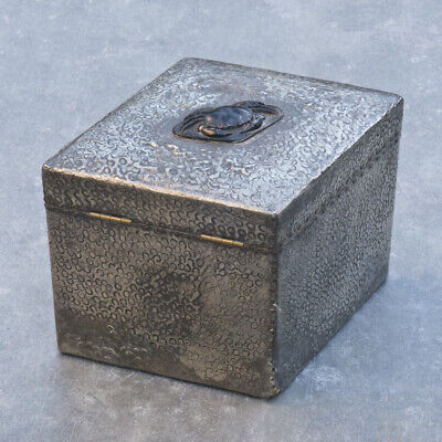 Arts & Crafts Pewter Covered Wooden Tea Caddy with Finely Carved Boss