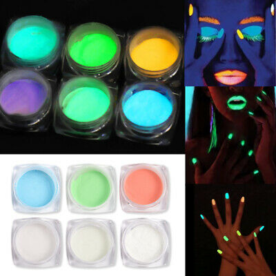 GLOW IN THE DARK Fine Powder Luminescent Nails Neon Painting Pigment Fluorescent