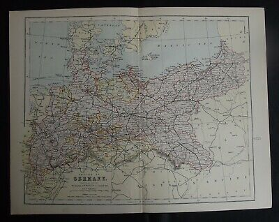 Antique Map: Empire of Germany (Northern Portion), Europe, c 1880, Colour