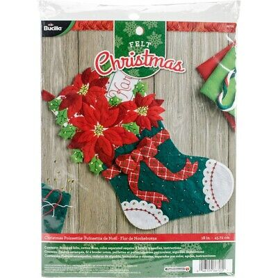 "Bucilla Felt Stocking Applique Kit 18"" Long-christmas Poinsettia"