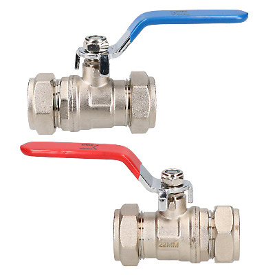 2pk 22mm Lever Ball Valve Blue & Red Handle Brass Compression Fitting Shut-off