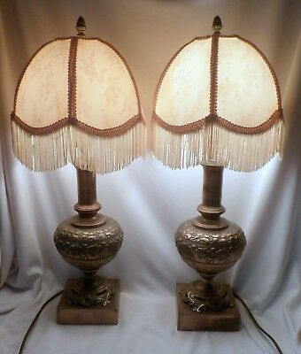 Pair Ornate Brass Lamps with Repoussé Cherubs and Grapes, Working, With Shades