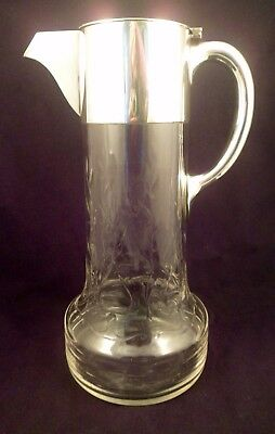 Large Exceptional Cut Crystal and Silver Plate Pitcher w/Vines, Fluorescing