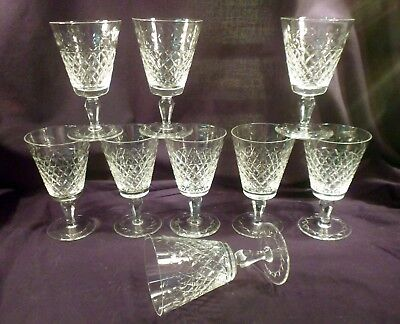 Rare Set of 9 Cut Crystal Red Wine or Water Goblets, Diamond and Laurel Leaf