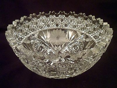 Large American Brilliant Period Cut Crystal Bowl, Double Toothed Rim, Daisies