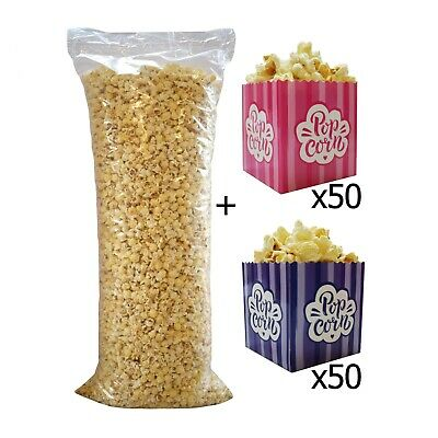 Ready Made Popcorn Bag 3kg + 50 Pink Boxes + 50 Purple Boxes