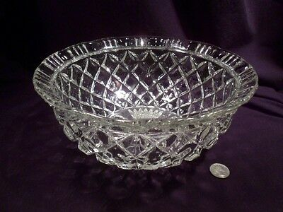 Vintage Large Centerpiece Crystal Glass Bowl, Quilted Pattern, Over 4 Lbs
