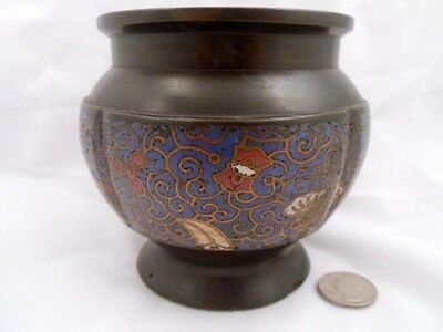 Rare Antique Chinese Bronze and Champleve Jar, Buddhist Motifs, Qing Dynasty