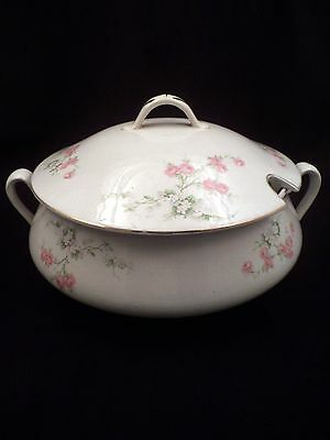 Antique Late 19th or Early 20th Century Porcelain Soup Tureen, Pink Rose Bouquet