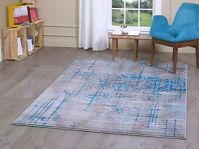 Grey Blue Modern Design Area Carpets Quality Lounge Bedroom Rugs Stain Resistant