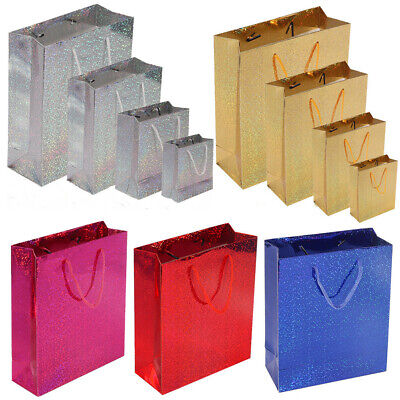 6 x Party Gift Coloured Paper Loot Bags Handle Wedding Birthday Presents 4 Sizes
