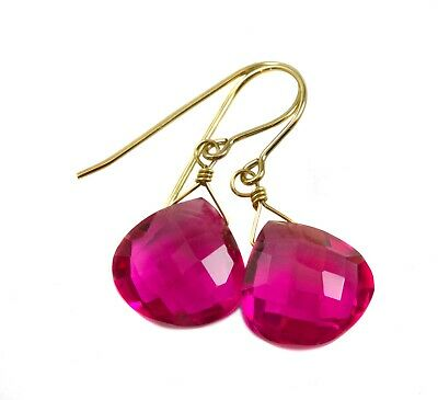 Hot Pink Sim Tourmaline Earrings Watermelon Teardrop Sterling 14k Solid Gold