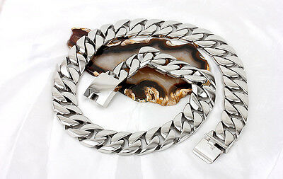 24mm Silver Tone Curb Link Mens Chain Boys 316L Stainless Steel Necklace(HEAVY)