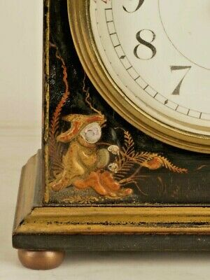 Chinoiserie Antique Mantel Clock  Hand Painted