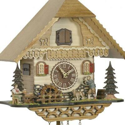 Chalet cuckoo clock with quartz movement and music (with greeting man / rotating