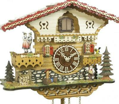 Chalet cuckoo clock with quartz movement and music (with moving dancers), 4218 .