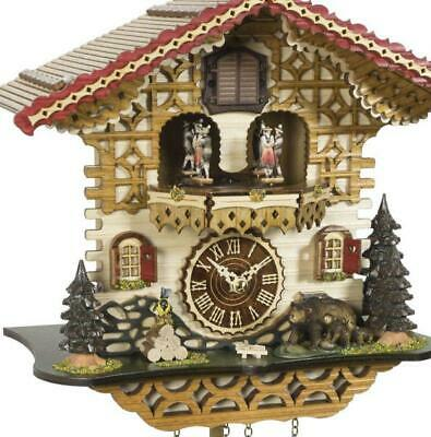 Chalet cuckoo clock with quartz movement and music (with moving dancers), 4229 .