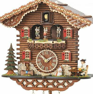 Chalet cuckoo clock with quartz movement and music (with moving dancers), 4209 .