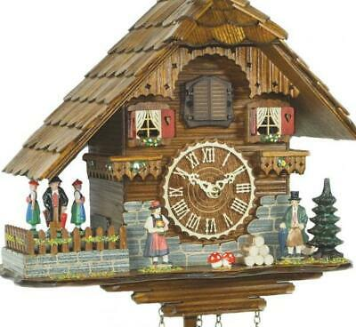 Chalet cuckoo clock with quartz movement and rotating dancers, 448 QT HZZG