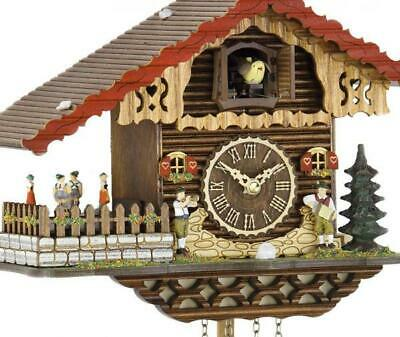 Chalet cuckoo clock with quartz movement and rotating dancers, 457 QT