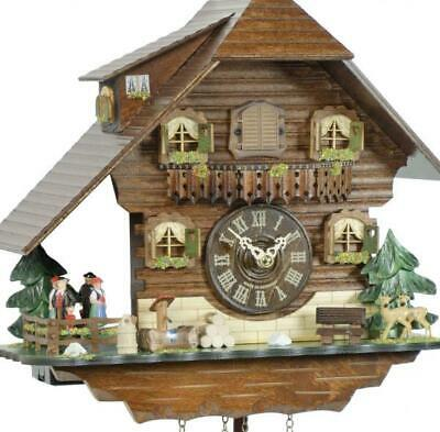 Chalet cuckoo clock with quartz movement and rotating dancers, 408 QT