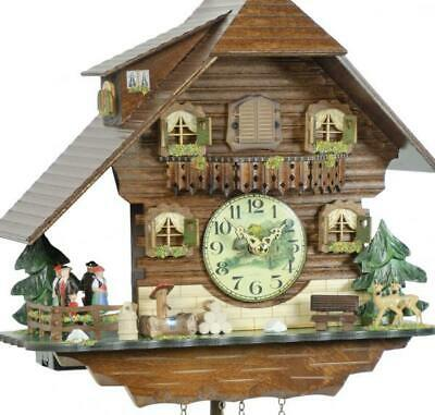 Chalet cuckoo clock with quartz movement and rotating dancers, 408/10 QT