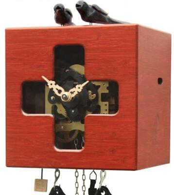 Modern cuckoo clock: Cube with mechanical 8-days-movement, BB33 FK-3 red