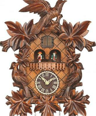 Cuckoo clock carved style with quartz movement and music (with moving dancers),