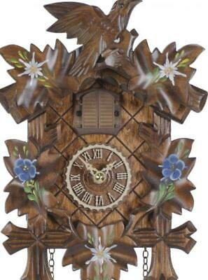 Hand painted, cuckoo clock carved style with quartz movement and music, 411 QM