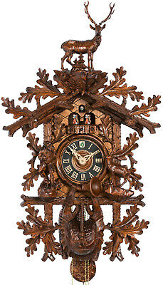 Opulent, carved cuckoo clock with mechanical 8-days-movement and music (with ...