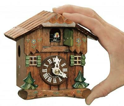 Hand-carved small chalet table cuckoo clock with mechanical 1-day-movement, ...