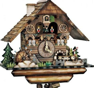 Hand-scarved chalet cuckoo clock with mechanical 1-day-movement (with moving ...