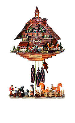 Hand-scarved chalet cuckoo clock with mechanical 8-days-movement (with moving ..