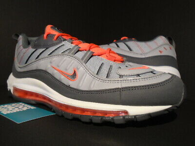 eb871ee34f 2018 Nike Air Max 98 Wolf Grey Dark Grey White Crimson Orange 640744-006 New