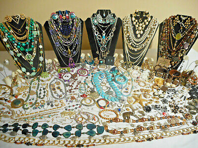 Huge 303 Pc Lot Vtg&Now CostumeJewelry ALL WEARABLE ManySigned/Rhinestones 10+Lb