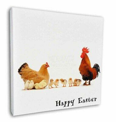 "Hen, Chicks, Happy Easter 12""x12"" Wall Art Canvas Decor, Picture P, AB-107EA-C12"