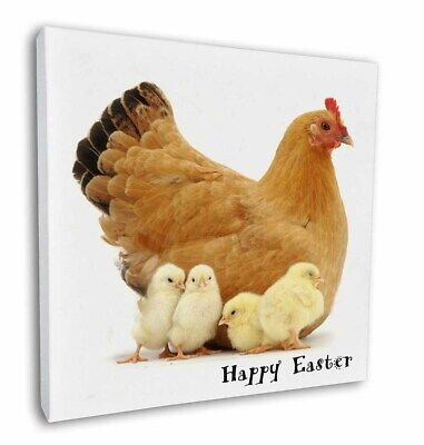 "Hen with Chicks 'Happy Easter' 12""x12"" Wall Art Canvas Decor, Pict, AB-109EA-C12"