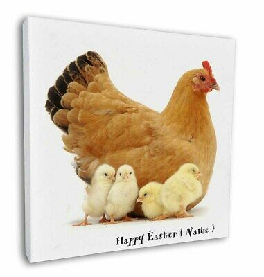 "Personalised Easter Hen+Chicks 12""x12"" Wall Art Canvas Decor, Pic, AB-109PEA-C12"