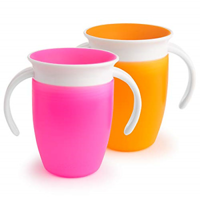 Munchkin Miracle 360 Trainer Cup, Pink/Orange, 7 oz/207 ml, 2 Pack