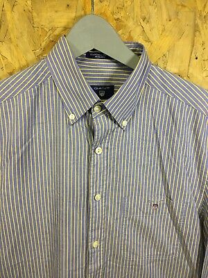 GANT, Mens Size M, Blue Striped, Small Logo, LS Reg Fit Shirt,*VGC*
