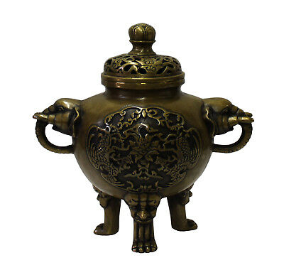 Chinese Oriental Fine Bronze Metal Incense Burner Display cs3080