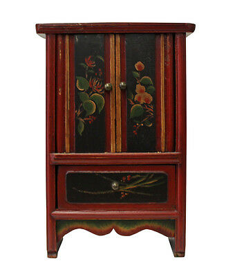 Vintage Chinese Mini Small Chest Cabinet with Red Golden Carving cs2839