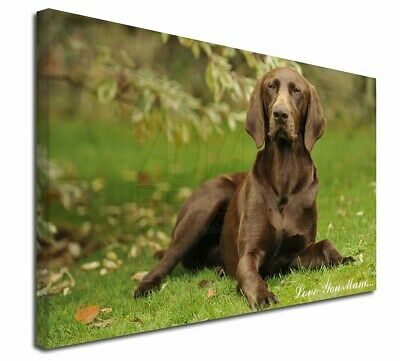 "German Pointer Dog 'Love You Mum' 30""x20"" Wall Art Canvas, Ext, AD-GSP1lym-C3020"