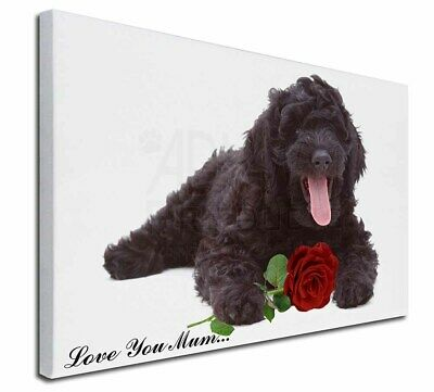 """Labradoodle+Rose 'Love You Mum' 30""""x20"""" Wall Art Canvas, Extra, AD-LD2Rlym-C3020"""